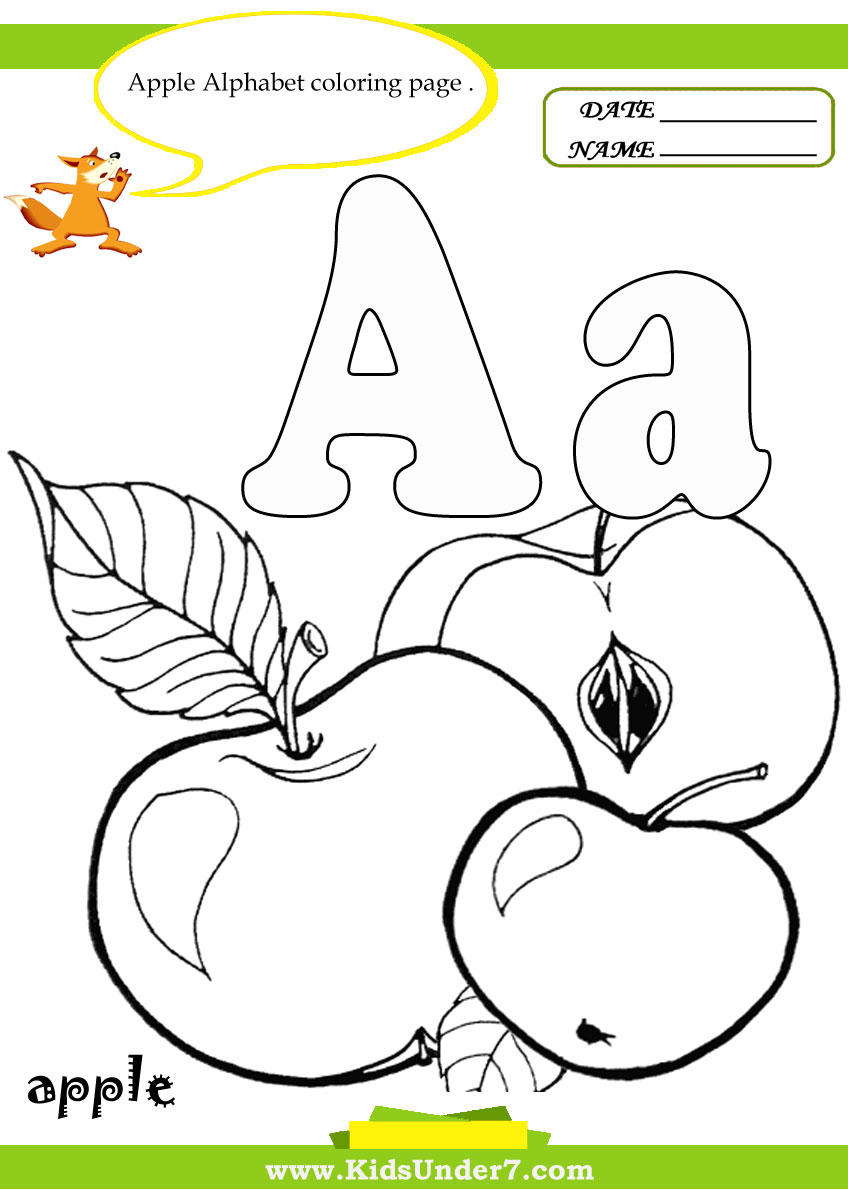 Kids Under 7 Letter A Worksheets and Coloring Pages – Apple Worksheets for Kindergarten