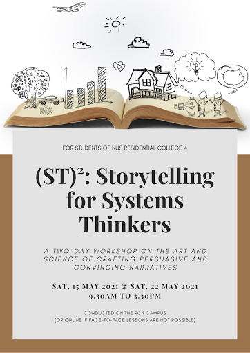 Poster of (ST)²: Storytelling for Systems Thinkers, a workshop for students from National University of Singapore Residential College 4.