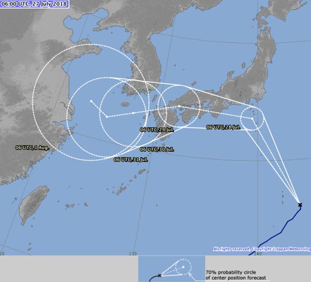 Predicted track of Typhoon Jongdari, 27 July 2018. Typhoon Jongdari is set to hit Japan on Saturday, 28 July 2018. Graphic: Japan Meteorological Agency