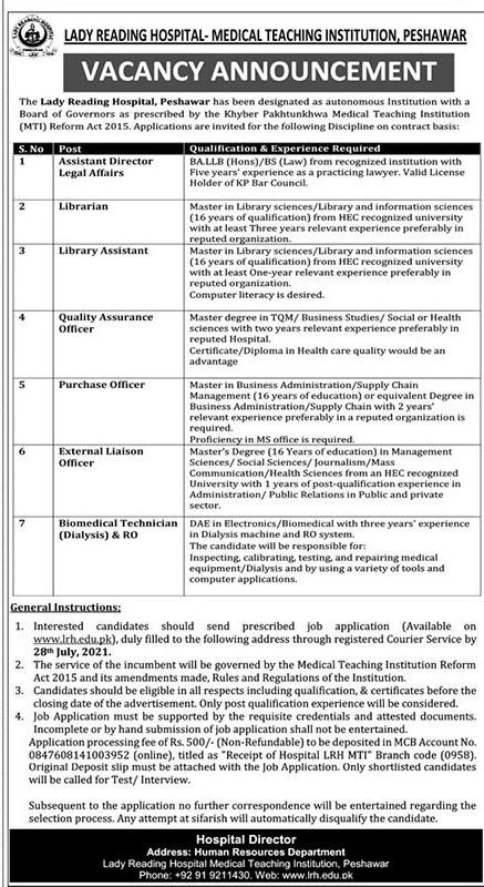 Lady Reading Hospital (LRH) Peshawar Jobs 2021
