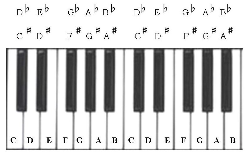 below covers the letter names for all the black keys on the keyboard ...
