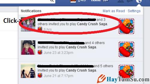 Mở thông báo mời chơi game Candy Crush Saga trên Facebook