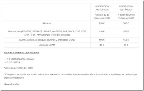 Tasas de inscripción UCAM CONGRESO PREVENCIÓN LESIONES 2016 MURCIA