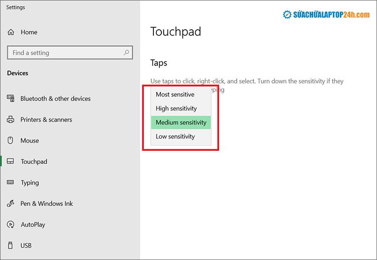 Cài đặt lại Touchpad sensitivity