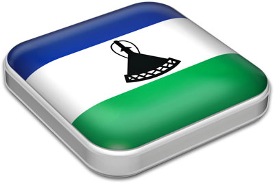 Flag of Lesotho with metallic square frame