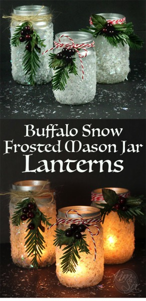 buffalo snow frosted mason jar lanterns - Christmas Candle Holders Decorations