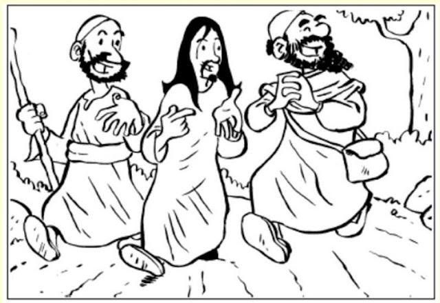 Cristo con discipulos para colorear