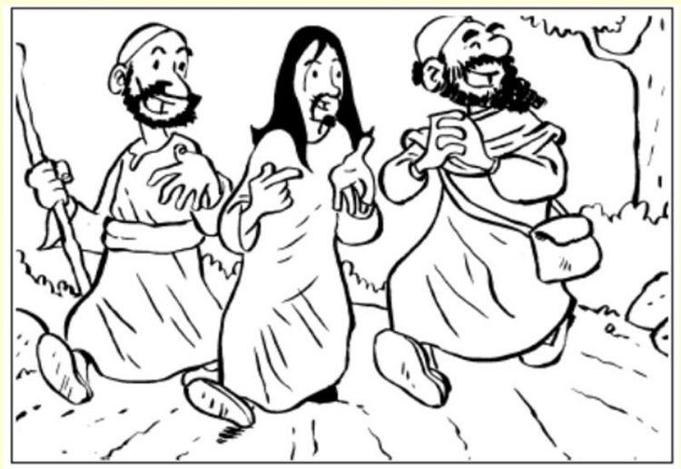 Jesús camina al monte sinaí para colorear