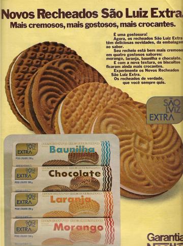 Propaganda antiga dos Biscoitos São Luiz Extra, apresentado nos anos 80