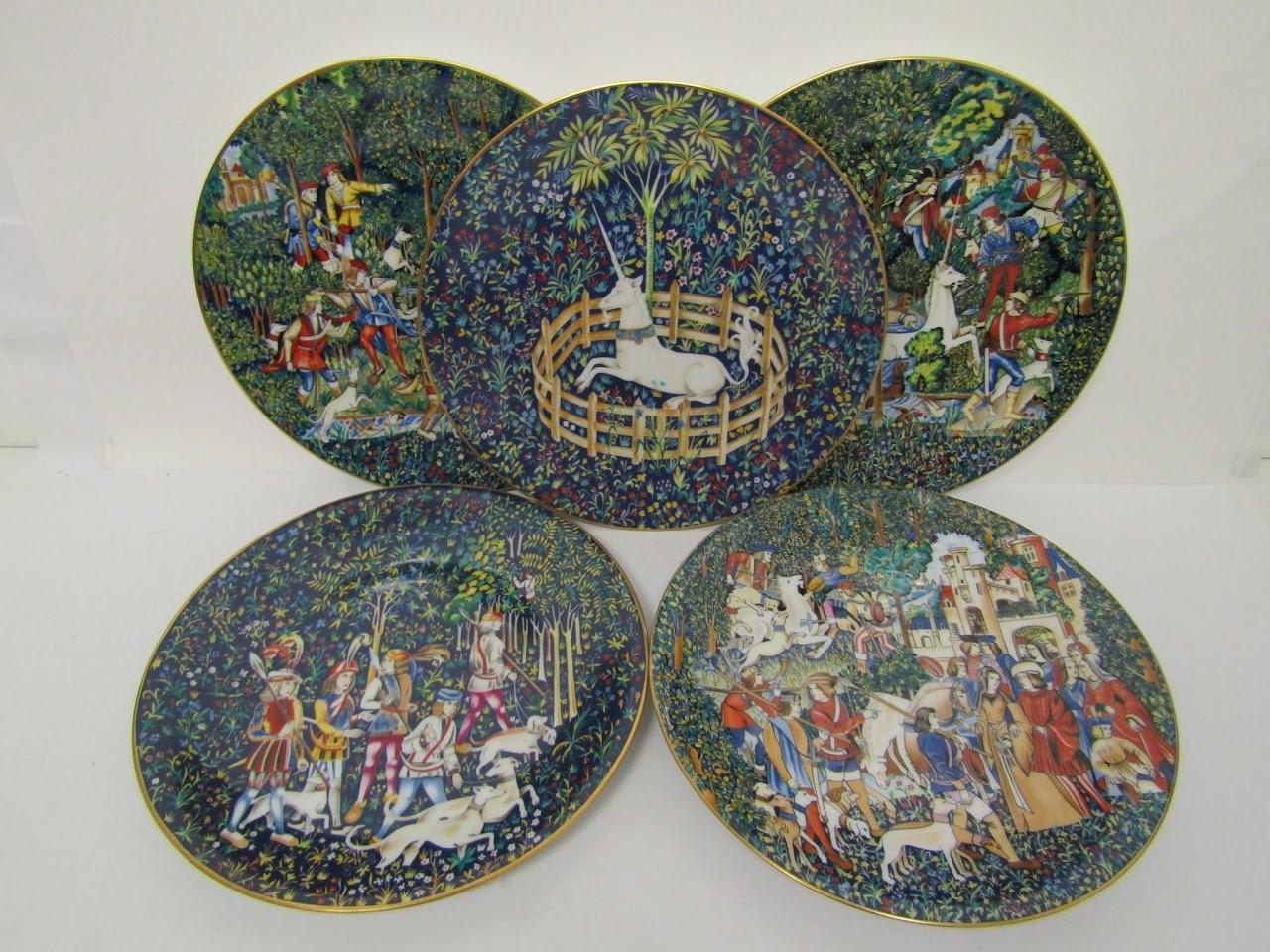 "Limoges ""La Chasse a la Licorne' Plate Set"