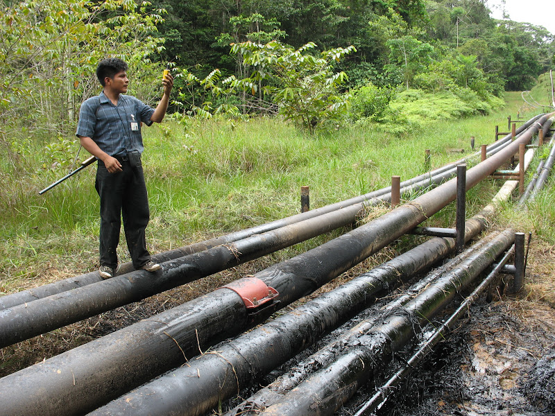 An indigenous monitor visits a spill caused by a pipeline rupture in Oil Block 1-AB near the community of Antioquia