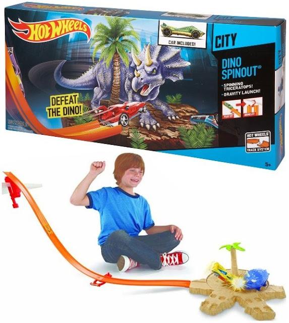 Mô hình Giải cứu phi cơ Hot Wheels City Track Set X2604 Khủng long tấn công