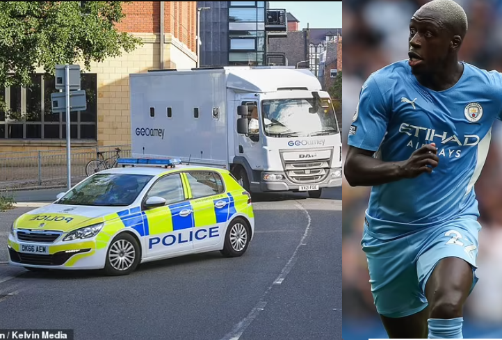 Manchester City star, Benjamin Mendy arrives at court in prison van to face charges of rape and sexual assault against three women (photos)