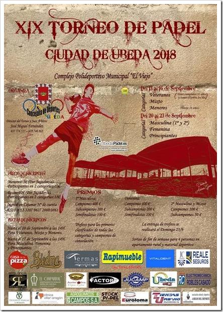 """El XIX Torneo de pádel """"Ciudad de Úbeda"""" 2018 ya calienta motores."""