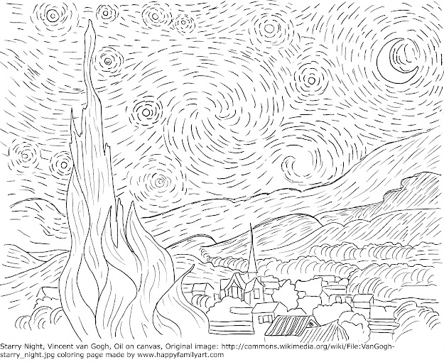 Van Gogh Starry Night Famous Paintings Coloring Pages