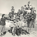 Third grade with Mrs Lester on the monkey bars-1952