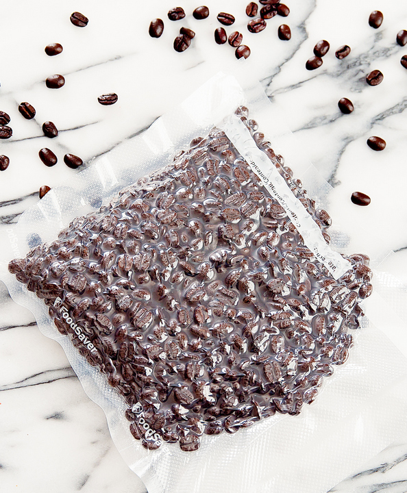 photo of vacuum sealed coffee beans