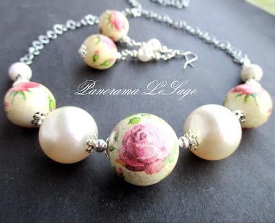 Panorama LeSage decoupage komplet naszyjnik korale kolczyki perły shabby chic handmade rękodzieło pastele biżuteria róże serwetki wzory kolczyki
