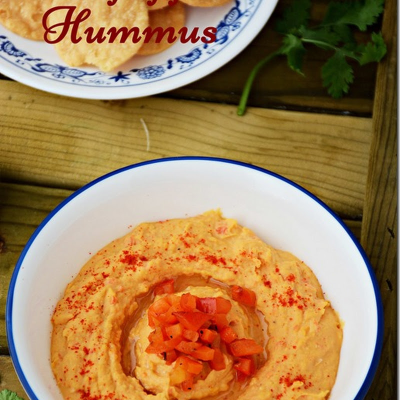 Roasted red pepper hummus / Red pepper hummus / Red bell pepper hummus / hummus with red bell pepper with video