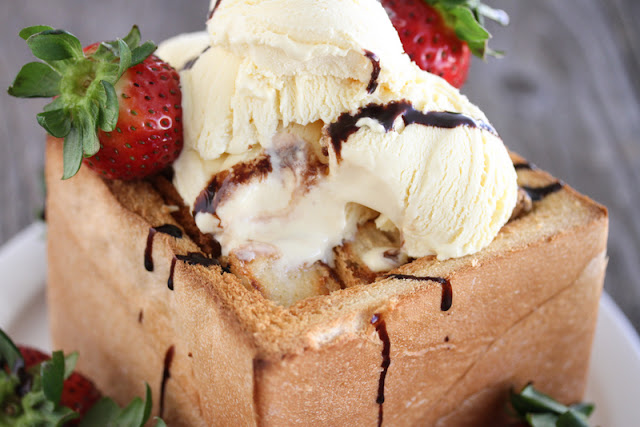 close-up of the ice cream on the brick toast