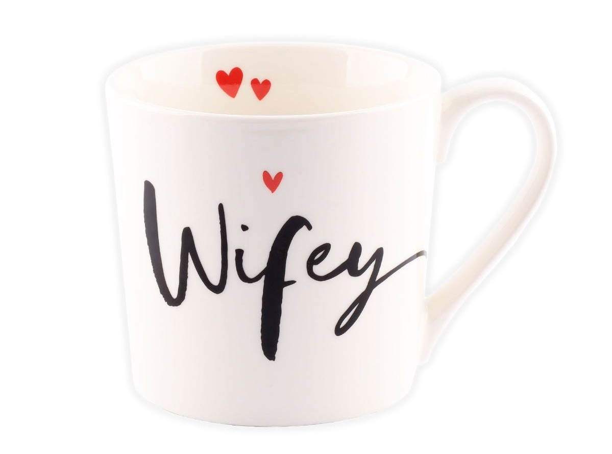 Fifth wedding anniversary; A personalised white mug with 'wifey' written on it.