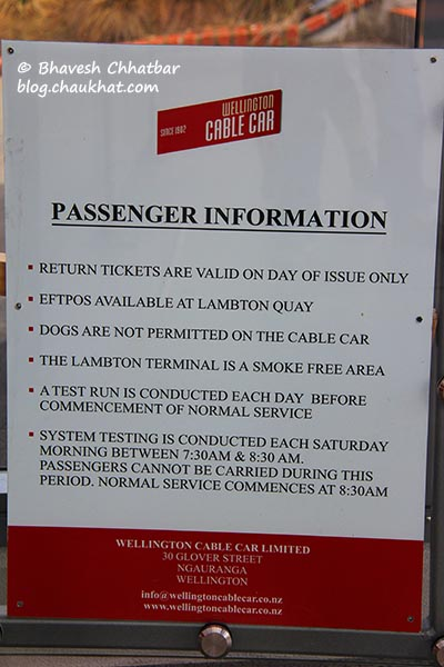 Passenger Information Board at the Kelburn station of Wellington Cable Car