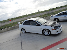 White Mitsubishi Evo