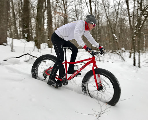 Fat biking in the powder in between the trail, Christmas day 2016!