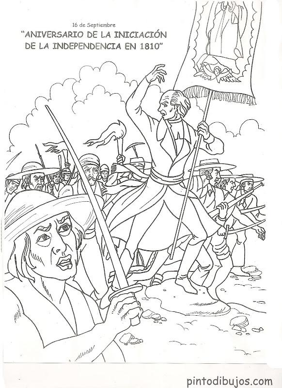 Dibujos de la independencia de México para colorear