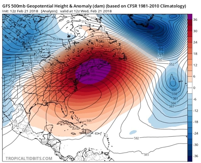 GFS 500mb geopotential height and anomaly (dam) over the eastern seaboard of the U.S., 21 February 2018. The spectacularly strong upper-level high centered just off the southeast U.S. coast at 12Z (7 am EDT) Wednesday, 21 February 2018. Colors show the departure in decameters (tens of meters) from the average height of the 500-millibar pressure surface at this time of year. Graphic: tropicaltidbits.com