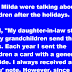 Mitsy and Milda were talking about their grandchildren after the holidays.