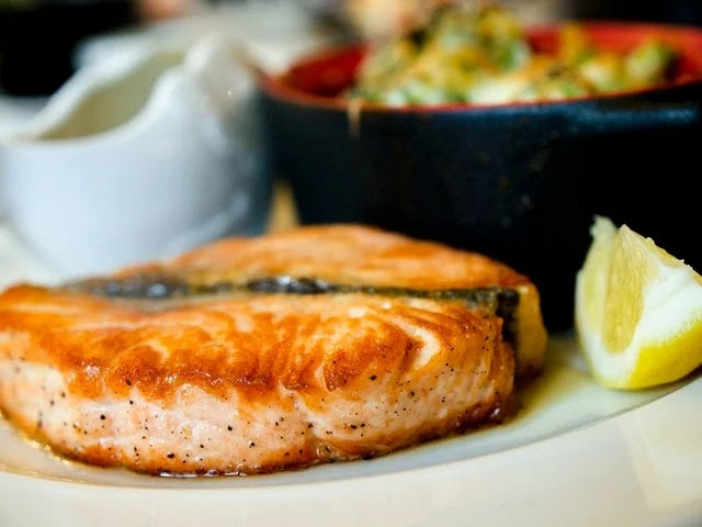 healthy salmon cooked in the microwave