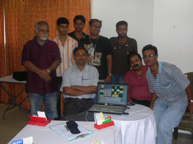 From L to R: Standing - Ashok Sanyal, Sourav Mukherjee, Anirban Dutta, Sanjib Basak, Soumya Das; L to R - Sitting: Debashish Chatterjee, Manoj K. Nair (The trainer of the Vugraph team) and Swarnendu Sil
