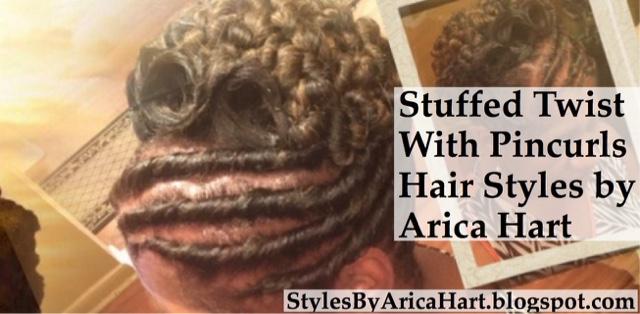 Black hair styles, black updo, pincurls, twist, stuffed twist styles