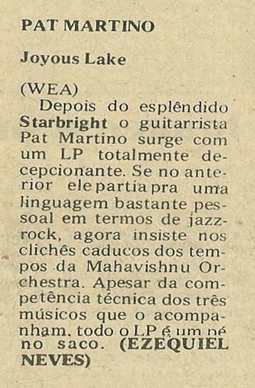 Pat Martino, Joyous Lake - Jornal de Música 1977-08