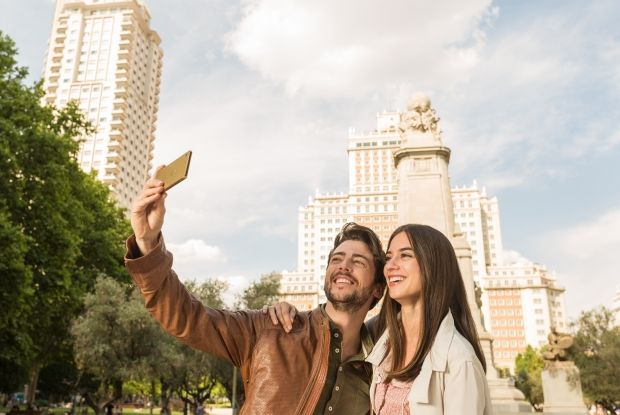 Two people taking a selfie using the Xperia M5 front camera
