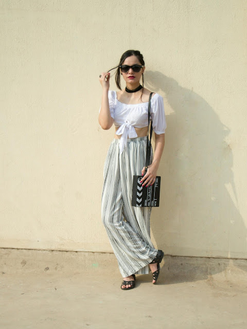 mumbai streetstyle, off shoulder crop top, croptop, palazzo pants, how to wear crop tops and palazzo pants, mumbai fashion blogger, mumbai streetstyle, street shopping mumbai, striped palazzo pants, stripes, monochrome, summer fashion outfit, what to wear in summer, what to wear in mumbai in summer