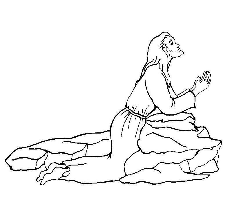 Jesús reza en el monte getsemaní para colorear