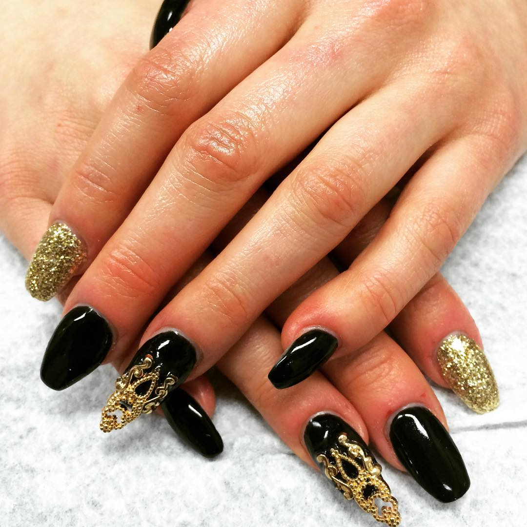Blue Stripes Stiletto Nail Art With Caviar Beads Design Black And Gold Read More