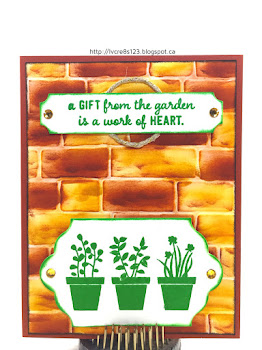 Linda Vich Creates: Gift From The Garden In Bold, Bright Colors. A boldly colored Brick Wall serves as a stunning backdrop to Cucumber Crush stamping using the Gift From The Garden stamp set from Stampin Up.