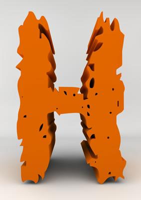 lettre 3D chiffron de craie orange - H - images libres de droit