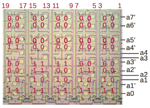 Part of the address decoder for the 8087's microcode ROM. The decoder converts an 8-bit address into column select signals.