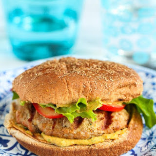 Grilled Turkey Burgers with Curry Hummus.
