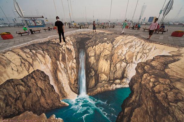 3d sidewalk chalk art 4 of the world s most talented for Ilusiones opticas en el suelo