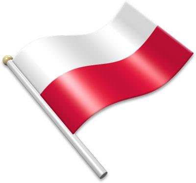 The Polish flag on a flagpole clipart image