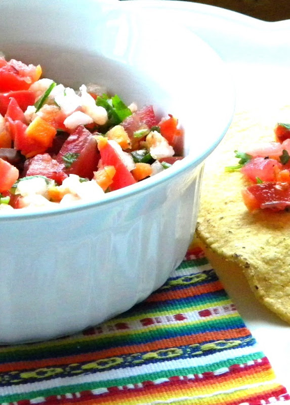 Fresh Shrimp Salsa with Tostada Shell