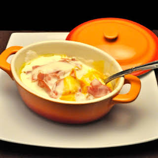 Poached Eggs with Crème Fraîche and Ham.