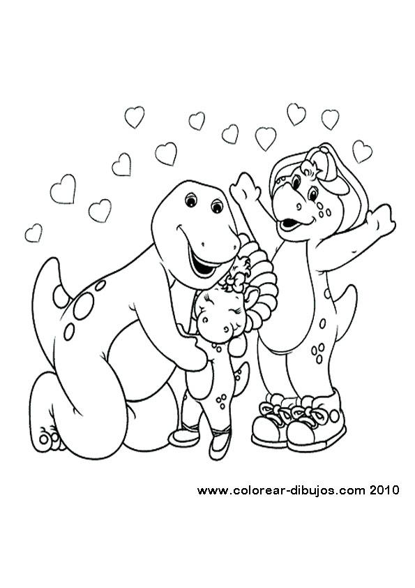 Único Barney Y Amigos Para Colorear Páginas Cumpleaños Elaboración ...