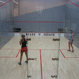 One of the Girls U19 matches on the Harvard glass court.