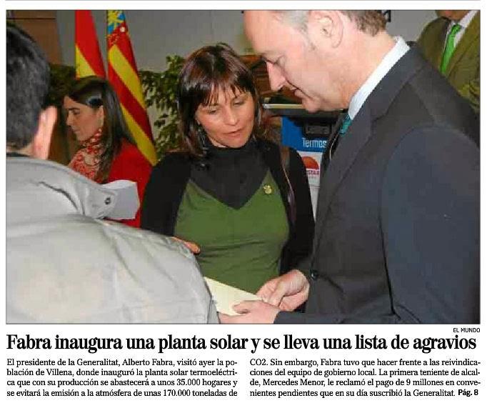 Durante la inauguración de la planta Termosolar Villena le presenta a fabra su lista de agravios